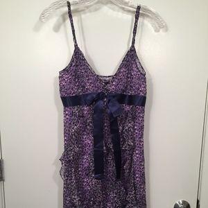 NWT BCBG Women Silk Purple Ruffle Bow Dress Size 2